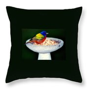 My Painted Bunting Throw Pillow