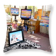 My Studio And Paintings Throw Pillow