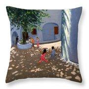 Mykonos Monastery Throw Pillow