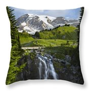 Myrtle Falls And Mount Rainier Mount Throw Pillow by Tim Fitzharris