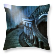 Mysterious Stairway In Old Mansion Throw Pillow