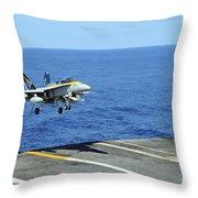 N Fa-18c Hornet Lands Aboard Throw Pillow