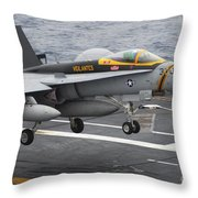 N Fa-18f Super Hornet Lands Aboard Throw Pillow
