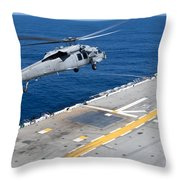 N Mh-60s Sea Hawk Helicopter Lifts Throw Pillow