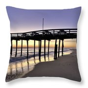 Nags Head Fishing Pier At Sunrise - Outer Banks Scenic Photography Throw Pillow