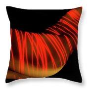 Naked Woman Body Painted With Laser Throw Pillow
