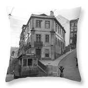 Narrow Streets And Streetcar In Lisbon Throw Pillow