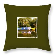 Narrowboat In Blue Throw Pillow