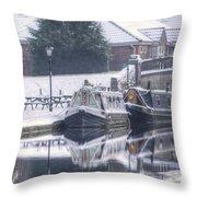 Narrowboats At The Boat Inn Throw Pillow