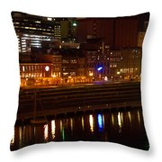 Nashville River Front By Night 1 Throw Pillow