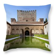 Nasrid Palace From Fish Pond Throw Pillow