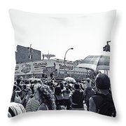 Nathan's Crowd In Coney Island 1 Throw Pillow