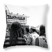 Nathan's Crowd In Coney Island 2 Throw Pillow