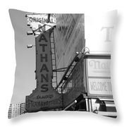 Nathan's Famous At Coney Island In Black And White Throw Pillow