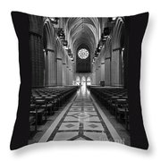 National Cathedral Interior Bw Throw Pillow