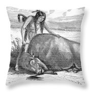 Native Amerians: Cutting Buffalo Throw Pillow