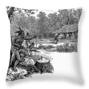 Native American Attack, C1640 Throw Pillow
