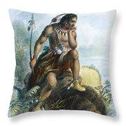 Native American Hunter Throw Pillow