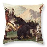 Native American Indian Bear Hunt, 19th Throw Pillow