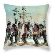 Native American Indian Snow-shoe Dance Throw Pillow