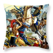Native American Indians Vs American Soldiers Throw Pillow