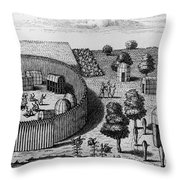 Native American Village Throw Pillow