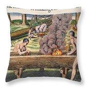 Native Americans: Canoe, 1590 Throw Pillow