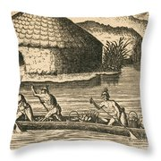 Native Americans Transporting Crops Throw Pillow