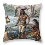 Native Americans/fishing Throw Pillow