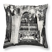 Nativity Grotto In 18th Century Throw Pillow