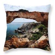 Natural Bridge - Cape Gkreko - Cyprus Throw Pillow