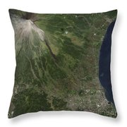 Natural-color Image Of The Mayon Throw Pillow