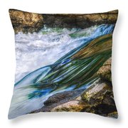 Natural Spring Waterfall Big River Throw Pillow