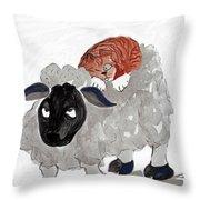Natural Wool Cat Nap Throw Pillow