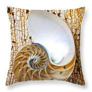 Nautilus Shell On Rusty Table Throw Pillow