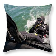 Navy Diver Dives Into San Diego Bay Throw Pillow