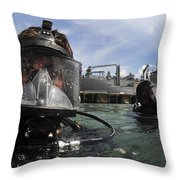 Navy Diver Wearing A Mk-20 Diving Mask Throw Pillow