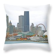 Navy Pier And Vicinity Throw Pillow
