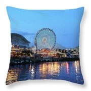 Navy Pier Chicago Digital Art Throw Pillow