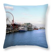 Navy Pier Chicago Summer Evening Throw Pillow