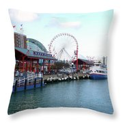 Navy Pier Chicago Summer Time Throw Pillow