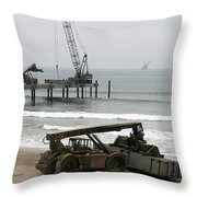 Navy Seabees Dismantling An Elevated Throw Pillow