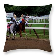 Neck And Neck At Saratoga Two Throw Pillow