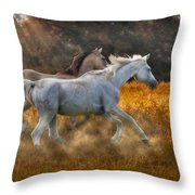 Neck And Neck Throw Pillow by Susan Candelario