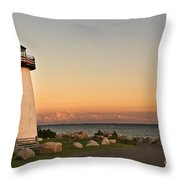 Neds Point Light House Mattapoisett Ma Throw Pillow