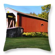 Neff's Mill Covered Bridge In Lancaster County Pa. Throw Pillow
