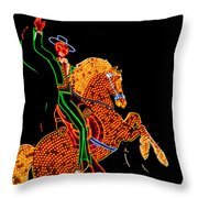 Neon Cowboy Las Vegas Throw Pillow by Garry Gay