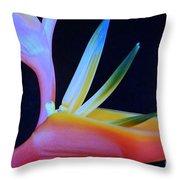 Neon Heliconia Throw Pillow