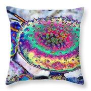 Neon Mushroom Throw Pillow