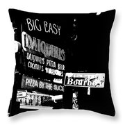 Neon Sign Bourbon Street Corner French Quarter New Orleans Black And White Conte Crayon Digital Art Throw Pillow